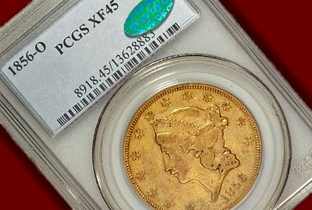 Coin Rarities & Related Topics: Extremely Fine 1856-O $20 gold coin to be auctioned