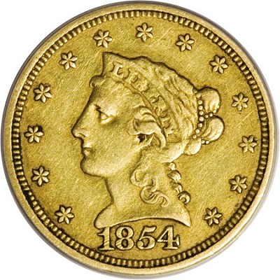 54 S ha 07LB Coin Rarities & Related Topics: The Norweb Richmond 1854 S $2.5 Gold Coin (Quarter Eagle)