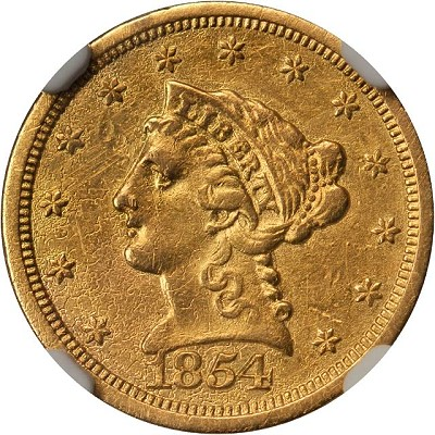 54 S ungradable Coin Rarities & Related Topics: The Norweb Richmond 1854 S $2.5 Gold Coin (Quarter Eagle)
