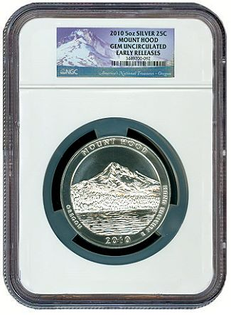 ATB 5 oz mt hood ngc Even as silver market soars, ATB 5 ounce quarters cool off 