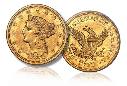 norweb 54 S 250 Coin Rarities & Related Topics: The Norweb Richmond 1854 S $2.5 Gold Coin (Quarter Eagle)