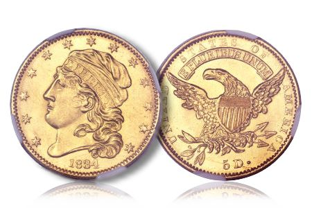 1834CappedHead Seldom Seen Selections: The Finest Graded Plain 4 1834 Capped Head Five Dollar