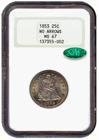 1853 25c NA gr Coin Rarities & Related Topics: Dimes and Quarters in the ANA Auction in Pittsburgh