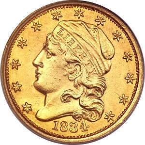 250 1834 capped Coin Rarities & Related Topics: The Rarest Quarter Eagles ($2½ gold coins)