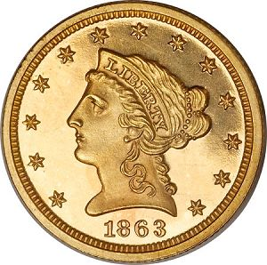 250 1863 pr Coin Rarities & Related Topics: The Rarest Quarter Eagles ($2½ gold coins)