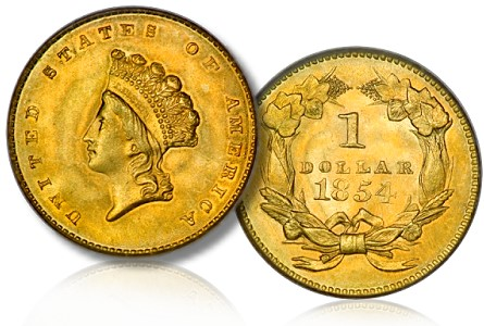 1854 t2 gold dollar Are Gem Type Two Gold Dollars Underpriced or Overpriced?