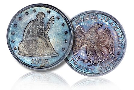 1876 20c pcgs secure 67 cac Superb Gem 1876 Twenty Cent to be offered by Heritage