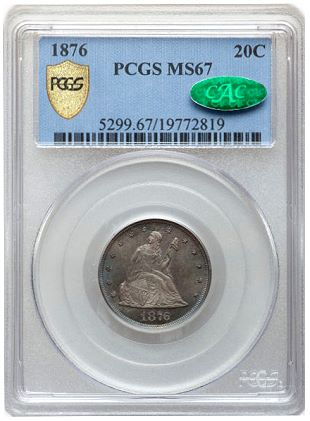 1876 20c pcgs secure 67 cac holder Superb Gem 1876 Twenty Cent to be offered by Heritage