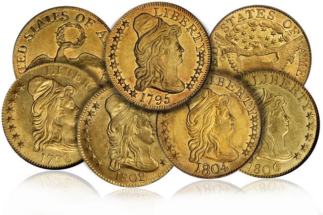 half eagle group Coin Rarities & Related Topics: Early U.S. $5 gold coins   Bust Right Half Eagles