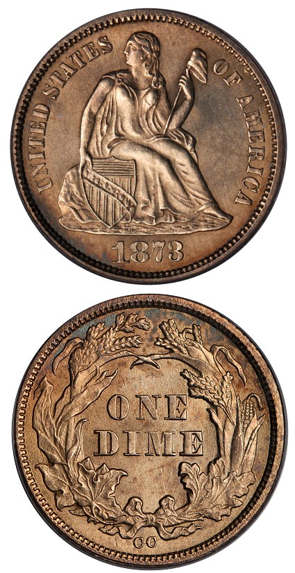 1873cc 10c unique  Only the Second Complete Set of Carson City Coinage To Be auctioned by Stacks Bowers