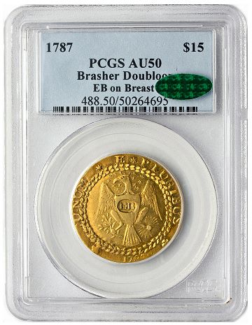 Brasher eb chest pcgs50 cac obv CAC Brasher Doubloon, Americas First Gold Coin, Sells for a Record $7.395 million