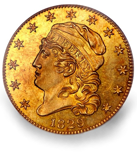 ha 1829 5 obv1 Coin Rarities & Related Topics: $1.38 Million Auction Record for a $5 gold coin