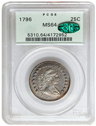ha fun 1796 25c ms64 Coin Rarities & Related Topics: Classic Silver Quarters sold on Platinum Night