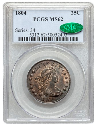 ha fun 1804 25c pcgs62 Coin Rarities & Related Topics: Classic Silver Quarters sold on Platinum Night