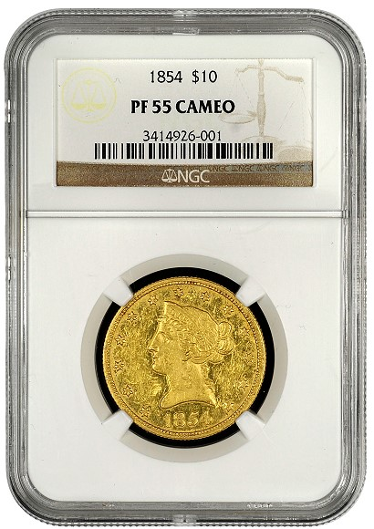 1854 10 proof unique obv NGC Certifies Unique Proof 1854 $10