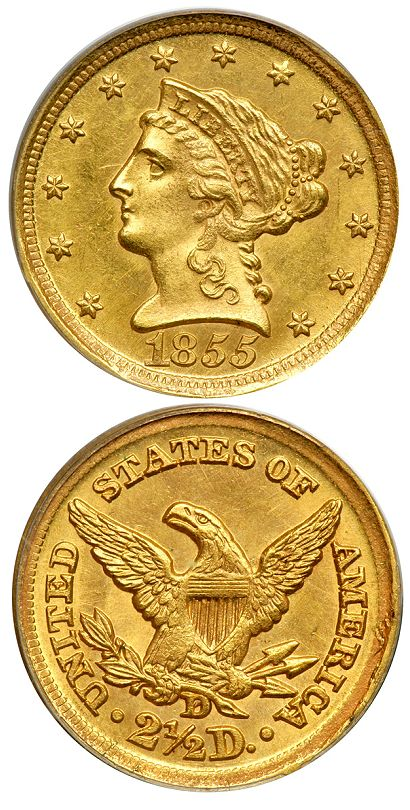 1855 D ms63 250 dw lg Greatest Dahlonega Mint Quarter Eagle.....Ever