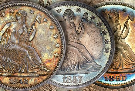 Lib seated 50c+fun121 Coin Rarities & Related Topics: Liberty Seated Half Dollars on Platinum Night