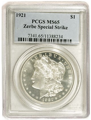 zerbe ms65 Origins of the 1921 Zerbe Proof Morgan Silver Dollars are Uncertain