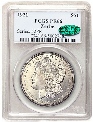 zerbe pr66 Origins of the 1921 Zerbe Proof Morgan Silver Dollars are Uncertain
