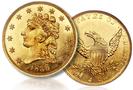 1836 250 pr64 ha csns2012 Coin Profiles: Proof 1836 Quarter Eagle With 1834 Small Head