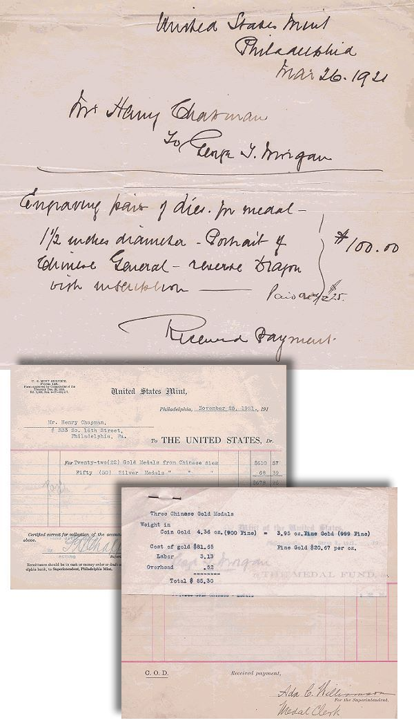 chapnam receipts1 1916 China Yan Shih kai Dragon Gold Dollar  Struck at the Philadelphia Mint in 1921 for  Philadelphia Coin Dealer Henry Chapman