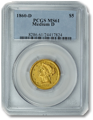 1860 D 5Dollar GreatCollections to auction rare $3 gold piece, graded by PCGS