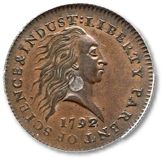1972Silver Cent 1792 Silver Center Cent, from the first group of coins ever struck at the U.S. Mint, may bring $1,000,000+ at Heritage Auctions' CSNS event