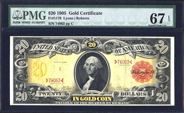 fr1179 Finest 1905 $20 Gold Certificate could top $120,000 in Heritage CSNS Currency Auction