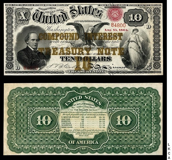 ln 1864 10 note 1864 $10 Note Leads Knight CPMX Sale