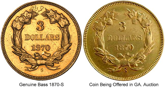 1870 S 3 real fake The Coin Analyst: Extremely Rare 1870 S $3 Gold Coin To Be Auctioned on June 2 in Georgia   Real or Fake?