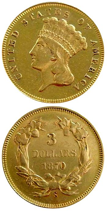 1870 S three detail The Coin Analyst: Extremely Rare 1870 S $3 Gold Coin To Be Auctioned on June 2 in Georgia   Real or Fake?