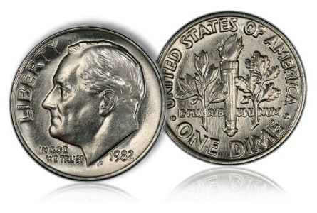 1982 noP dime Choosing a Key Date Clad Roosevelt Dime