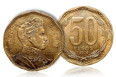 50Peso World Coins: Chile 2008 50 Peso