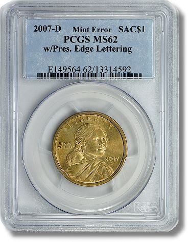 Sac Dollar 2007 D $1 Sacagawea with Presidential Edge Lettering to be sold by GreatCollections