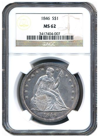 1846 Seated Dollar NGC62