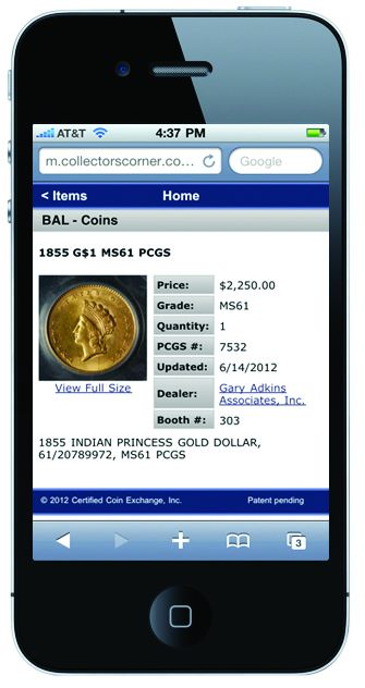 cce phone Find Coins Fast With Collectors Corner CoinSearch™ at the June 2012 Baltimore Expo
