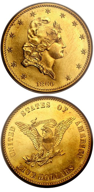 j271 1860 Five Dollar Pattern on a Ten Dollar Planchet, the Only Example Available in Gold