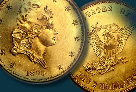 1860 Five Dollar Pattern on a Ten Dollar Planchet, the Only Example Available in Gold