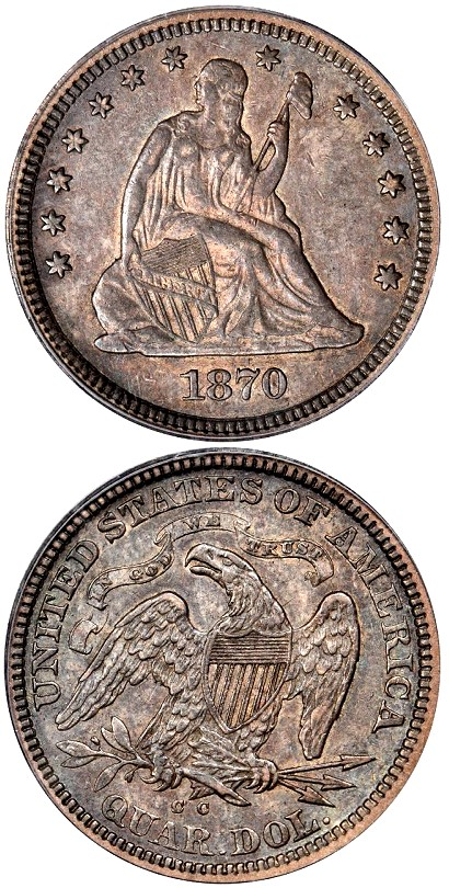 1870 cc battle Born 25c Coin Rarities & Related Topics: Battle Born 1870 CC Liberty Seated Quarter