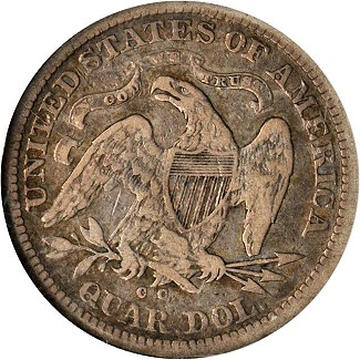 1870cc vf sb rev Coin Rarities & Related Topics: Battle Born 1870 CC Liberty Seated Quarter