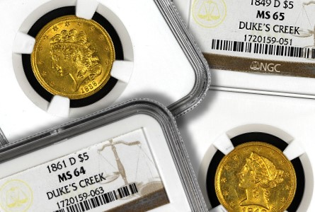 Mid-American Rare Coin Galleries to Sell the Duke's Creek Collection of Dahlonega Half Eagles