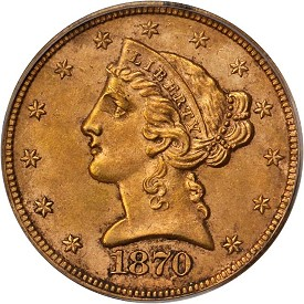 1870-CC Half Eagle is PCGS graded MS-61 and has a CAC sticker