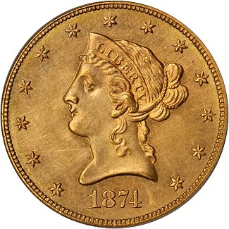 1874-CC is PCGS graded MS-63