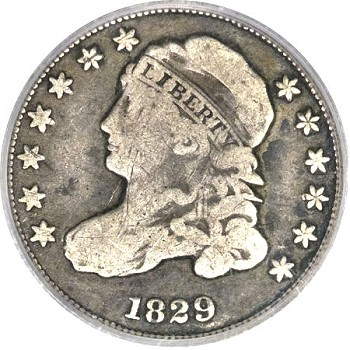 gr 822 1829 The ANA Rarities Night, Part 3: Capped Bust Dimes, Proof 1893 CC Silver Dollar, and Historic Gold Bars