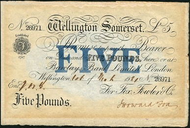 spink 5pound Exclusively English   Largest Collection of Provincial Banknotes to Come on to the Market