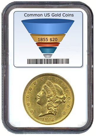 1855 20 ngc58 Do Rising Bullion Prices Pose a Threat to the Rare Coin Market?
