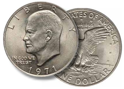 1971 ike1 How I turned a $1.50 Ike into a $5 Liberty Half Eagle