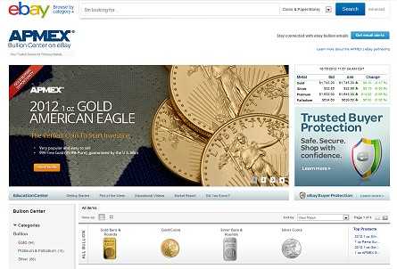 ebay apmex APMEX BULLION CENTER DEBUTS ON EBAY