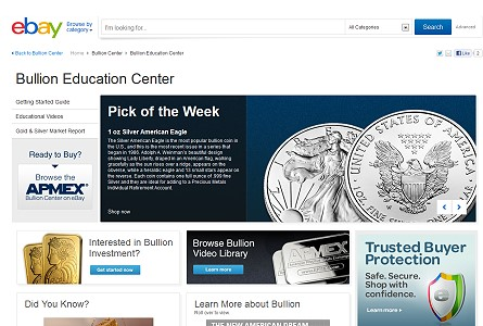 ebay bullion center APMEX BULLION CENTER DEBUTS ON EBAY