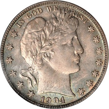 gr 1904 50c e Coin Rarities & Related Topics: Philadelphia Mint Barber Half Dollars of 1904